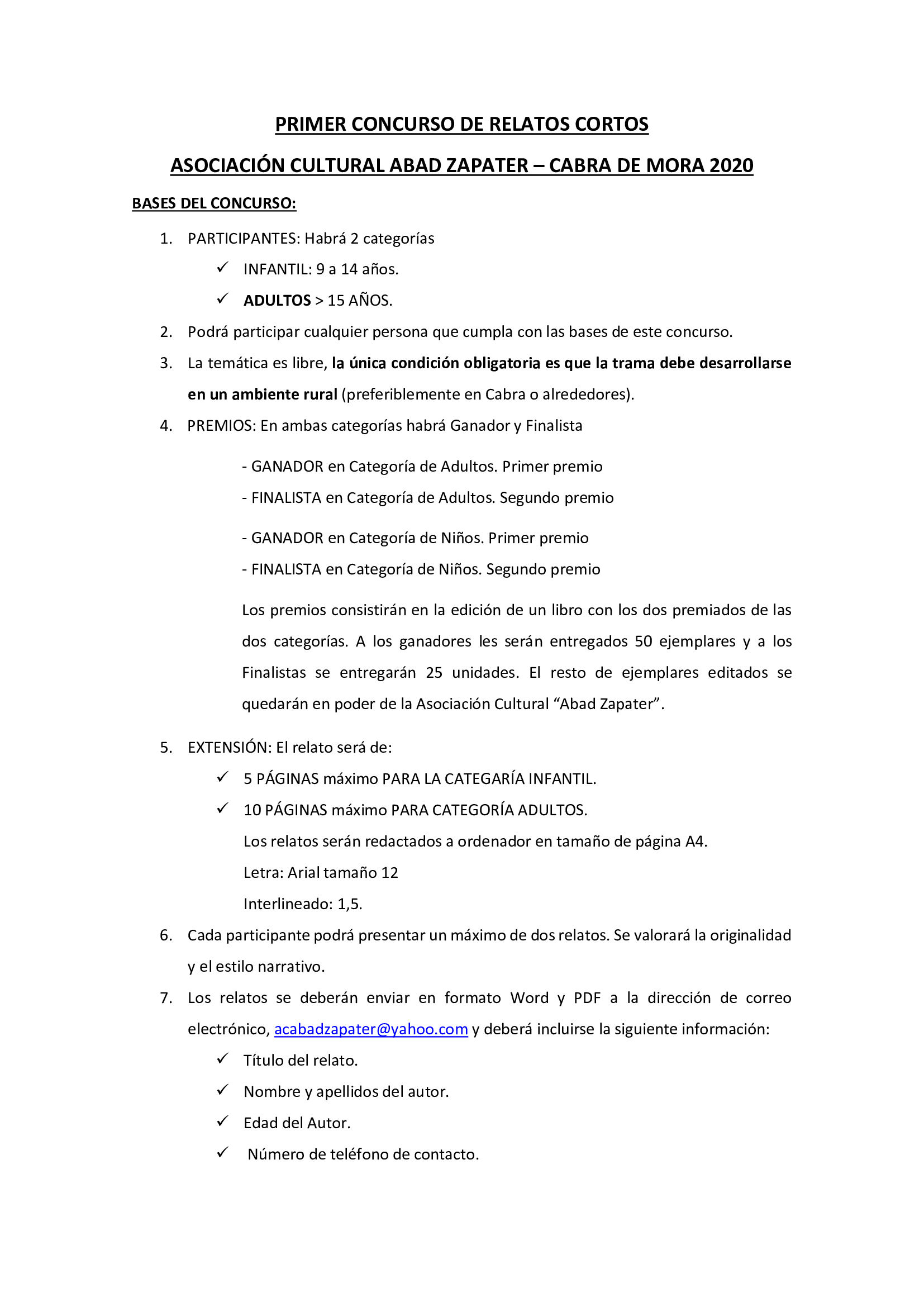 BASES PRIMER CONCURSO DE RELATOS CORTOS CABRA DE MORA 2020 1