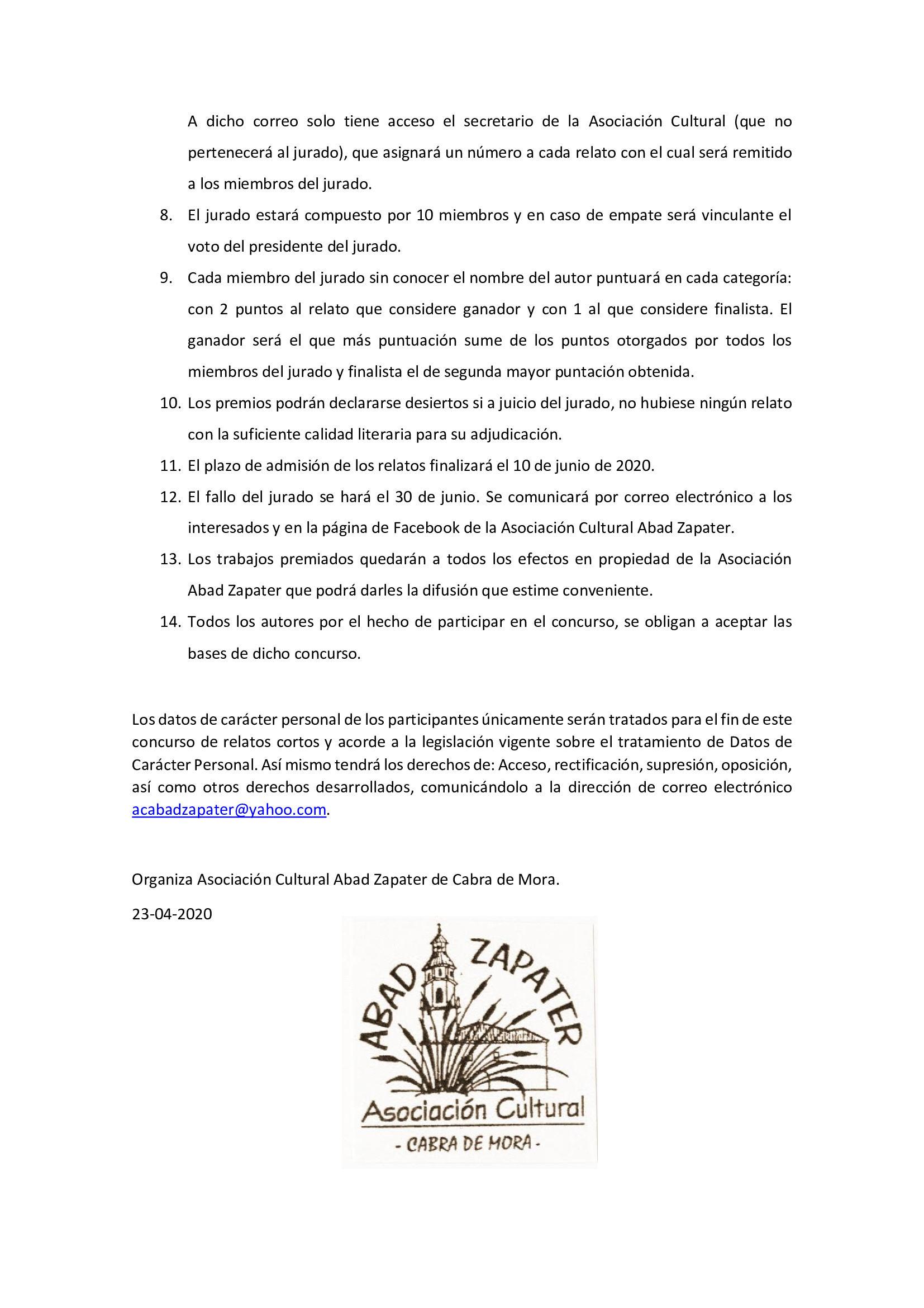 BASES PRIMER CONCURSO DE RELATOS CORTOS CABRA DE MORA 2020 2